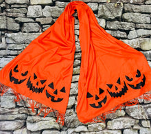 Load image into Gallery viewer, Vegan Cashmere Scarf - Jack-O-Lanterns