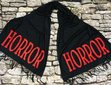 Load image into Gallery viewer, Vegan Cashmere Scarf - Red Glitter Horror