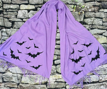 Load image into Gallery viewer, Vegan Cashmere Scarf - Lavender Bats