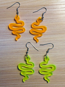 Neon Snake Earrings