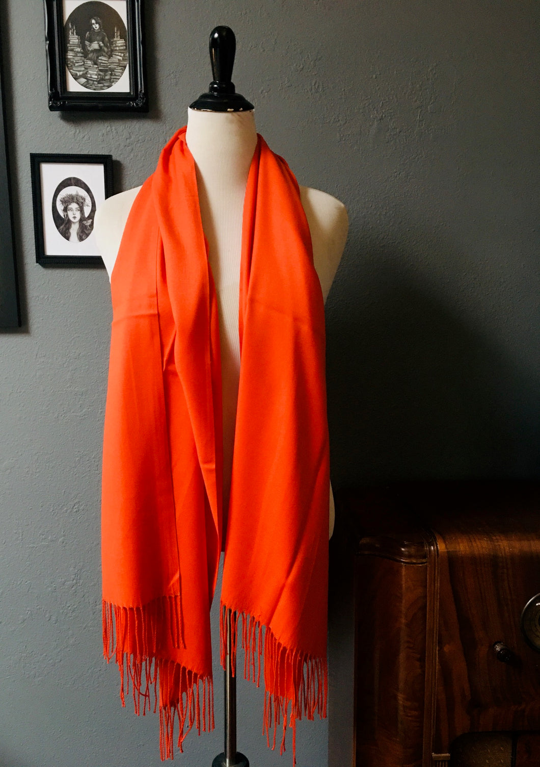 Vegan Cashmere Scarf - Solid Orange