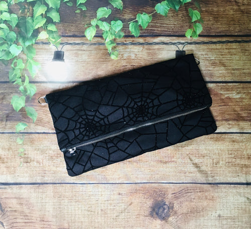 Velvet Web Fold Over Crossbody Bag