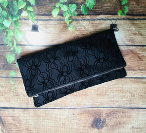 Velvet Spider Fold Over Crossbody Bag
