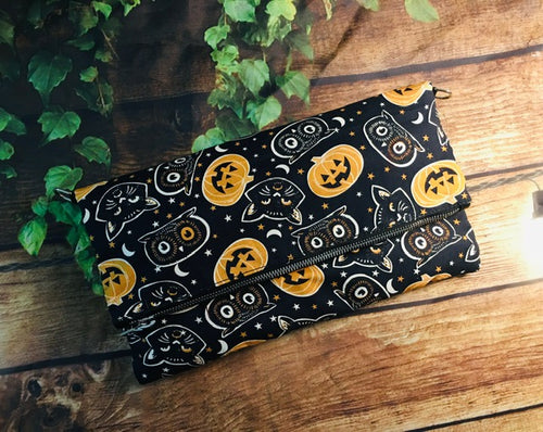 Pumpkin Cats Fold Over Crossbody Bag