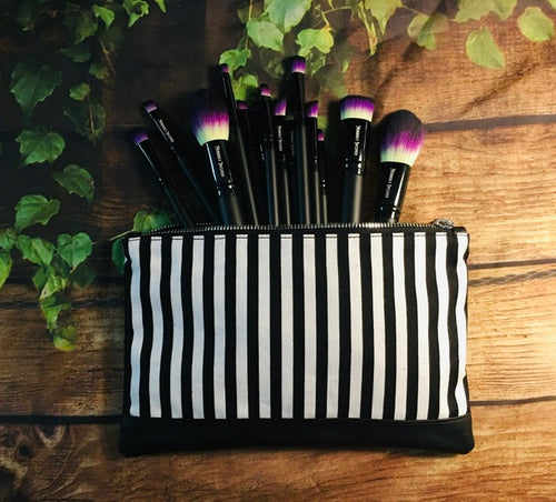 Black & White Stripe Cosmetic Bag