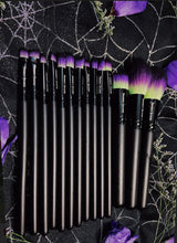 Load image into Gallery viewer, Vegan 15-Piece Brush Set - Lime Green/Purple/Black