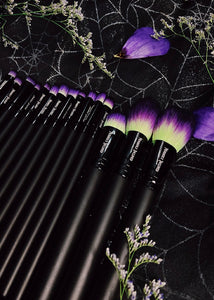 Vegan 15-Piece Brush Set - Lime Green/Purple/Black