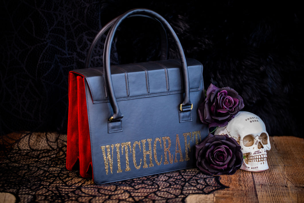 Witchcraft Satchel - Black & Gold Glitter