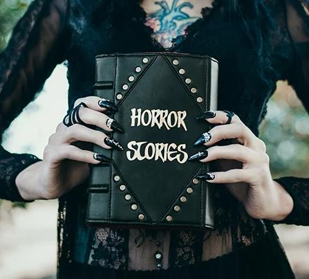 Studded Horror Stories Book Clutch & Crossbody