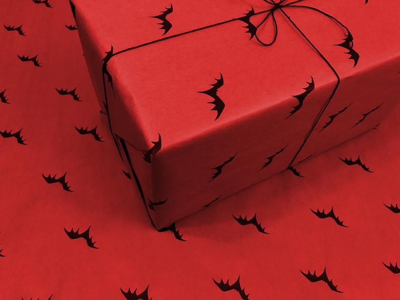 Wrapping Paper - Flying Bats - Red