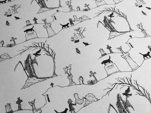Wrapping Paper - Graveyard Toile - White