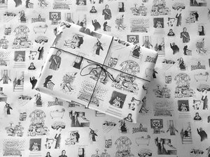 Wrapping Paper - Horror Movie Classics - White