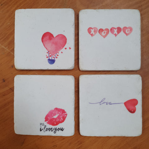 Set of 4 Coasters - love *