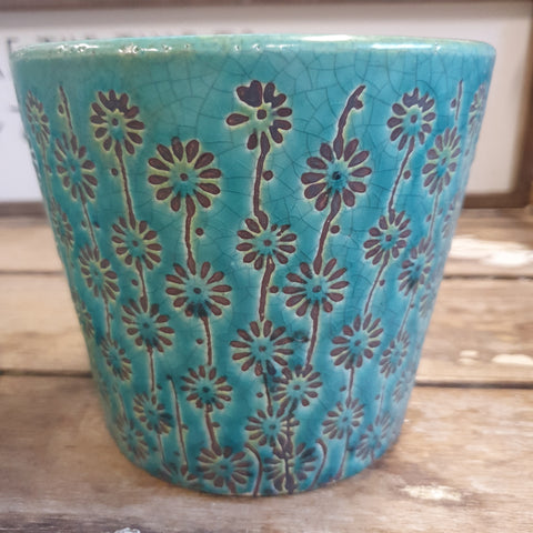 Planter - terracotta large Teal PTLT