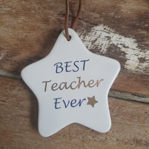Ceramic tag - Best Teacher Ever BTEW *