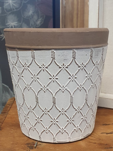 ST20. White Patterned Pot - small