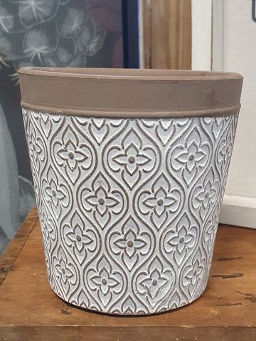 White Patterned Pot - small WPPS2 *