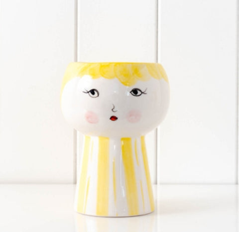 Little miss planter - yellow opened eyes