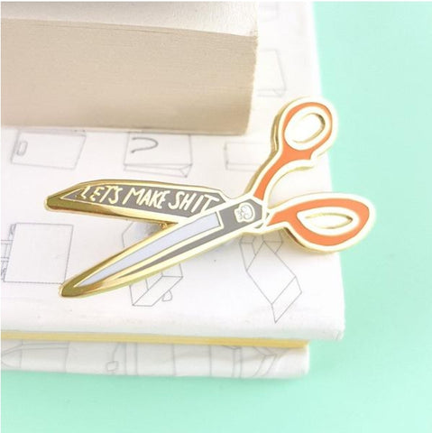 Jubly-Umph Lapel Pin - Let's make s@*t scissors