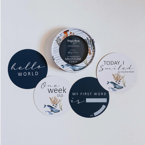 Milestone Cards - Whale & Azure Reversible