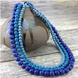 Necklace - Denim Blues Lolita 3 Strand Wooden Necklace