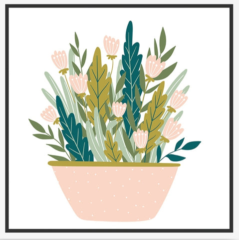 ART - White Framed Pretty Potted Canvas WFP