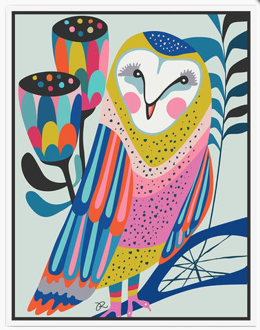 ART - Framed Owl Canvas - Rachel Lee
