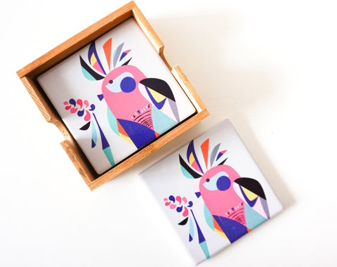 Coasters - Galah in Bamboo Holder CGB *