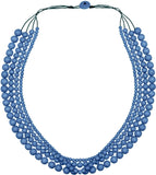 Necklace - Denim Blue Bella 4 strand Wooden Necklace NA720DB
