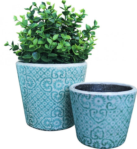 Planter - terracotta large Moroccan teal PTML