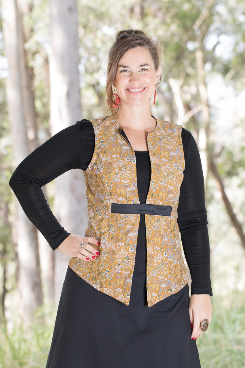 Bar Vest - Ginger Floral Cord