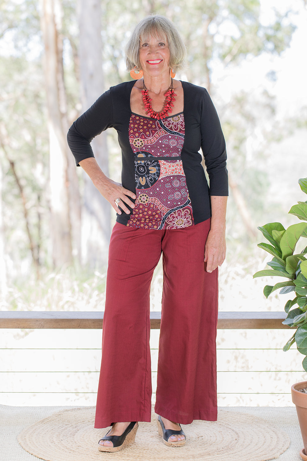 Sidewalk Pants - Burgundy Cotton Dobby (8)