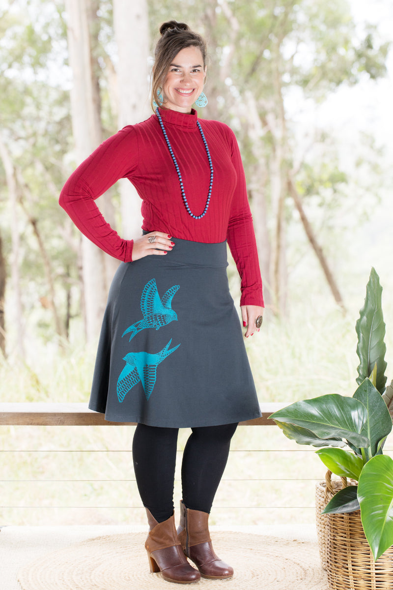 Swing Skirt - Welcome Swallows in Turquoise