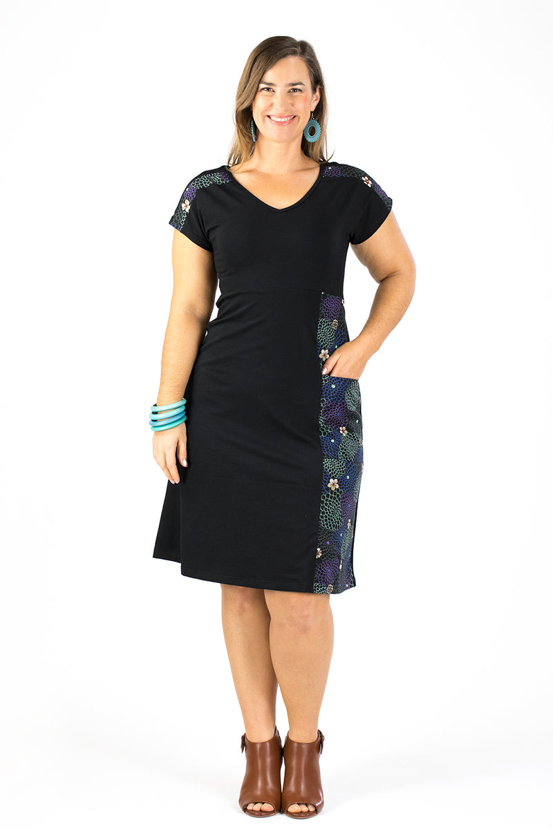 Doma Dress - Japanese Garden in Black