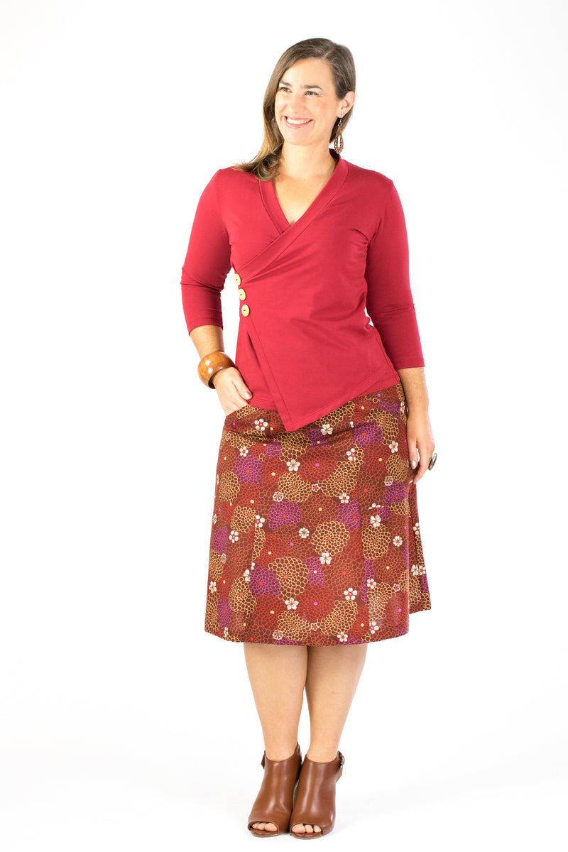 Casuarina Skirt - Japanese Garden in Burgundy