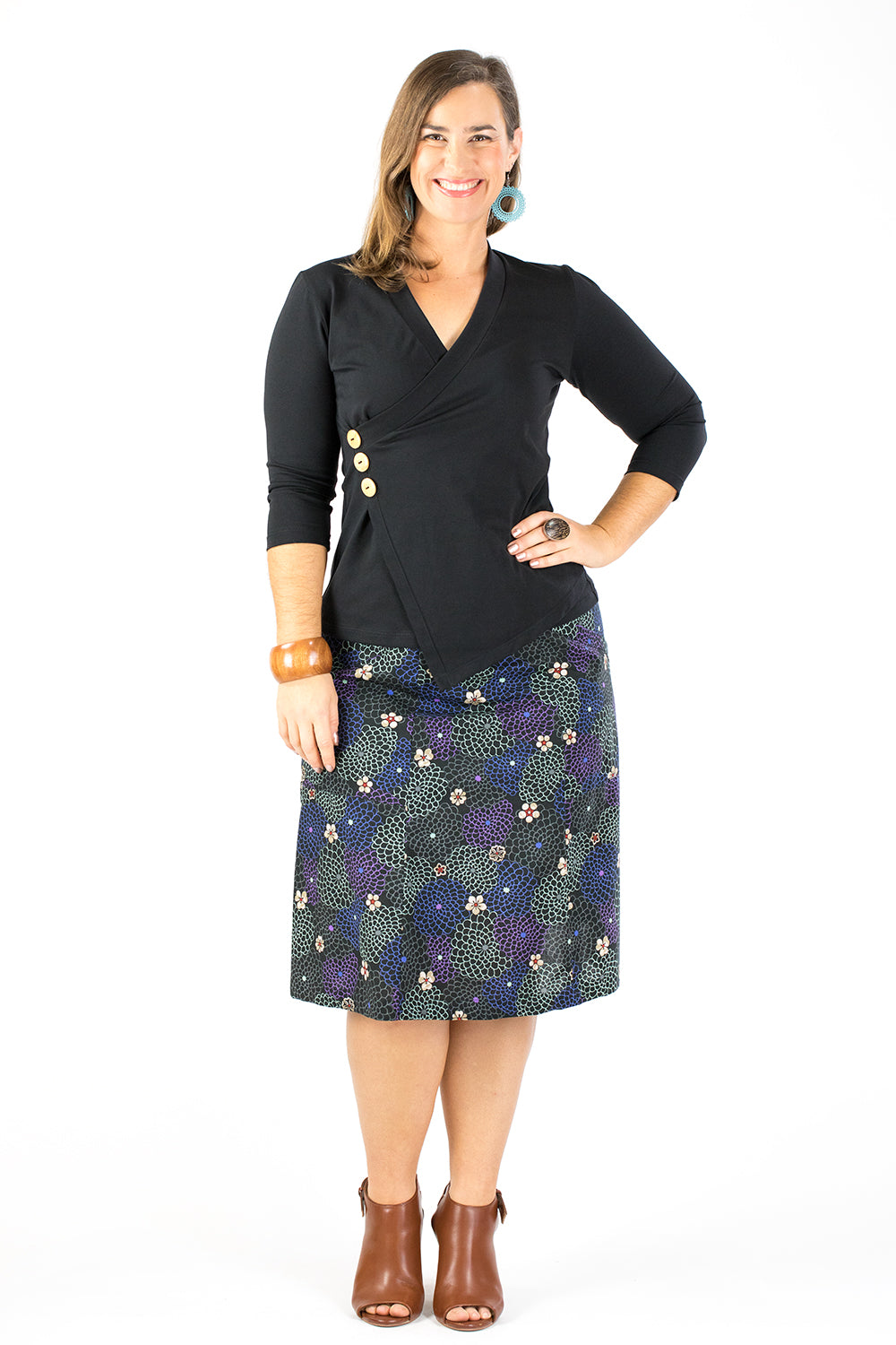 Casuarina Skirt - Japanese Garden in Black (8,10,12)