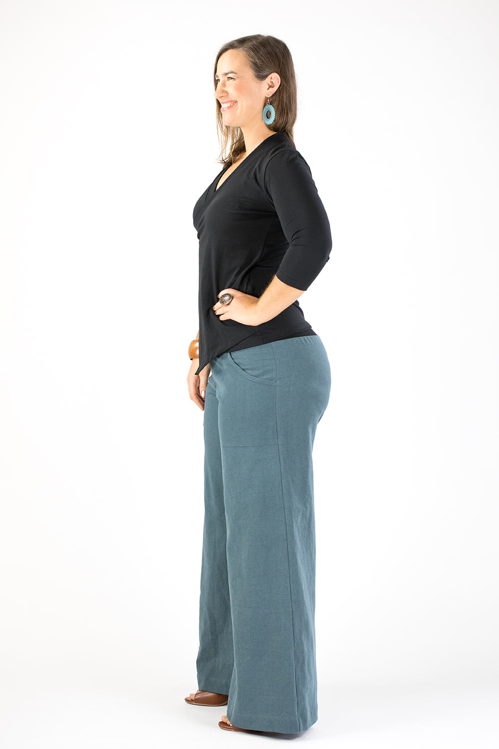 Sidewalk Pants - Dusty Teal Linen/Viscose (Lucky Last 16!)