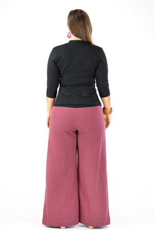Sidewalk Pants - Dusty Burgundy Linen/Viscose
