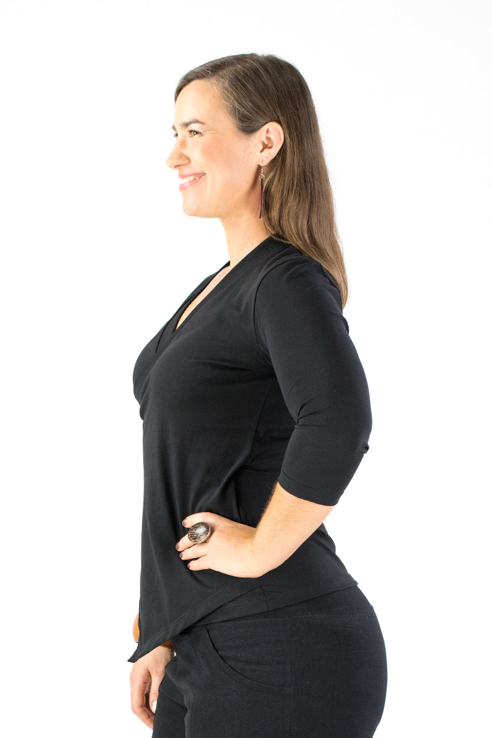 Crossover Top - 3/4 Sleeve - Black