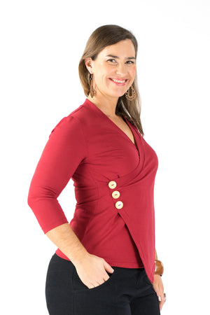 Crossover Top - 3/4 Sleeve - Dark Red