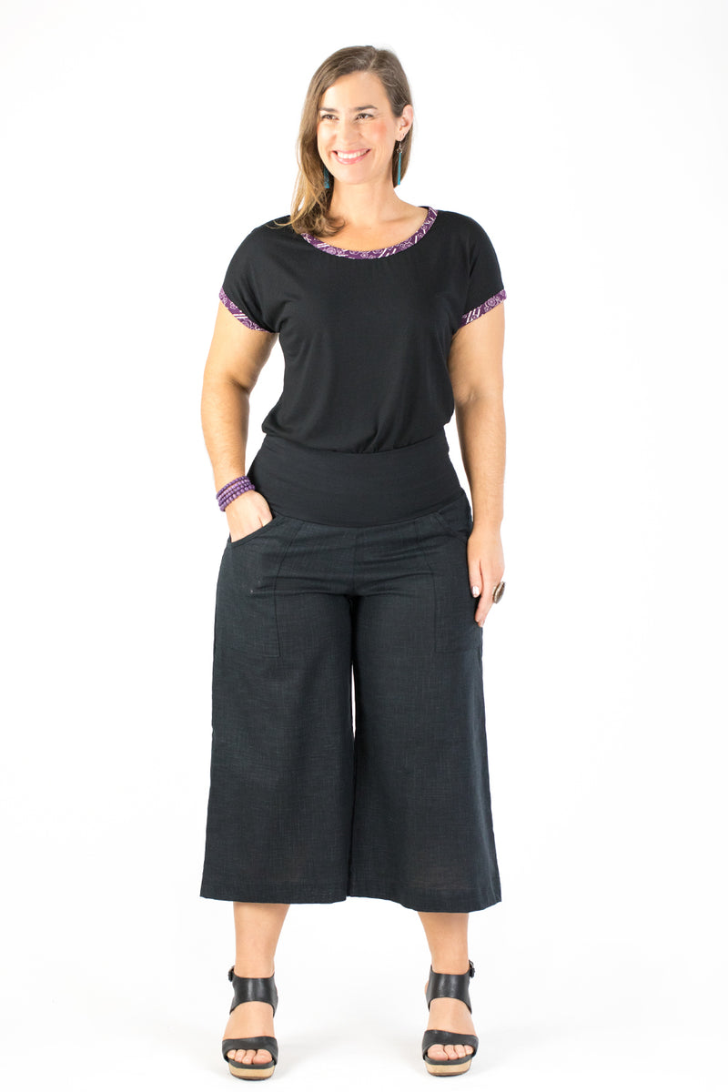 Sidewalk Pants Cropped - Black Japanese Cotton (8)