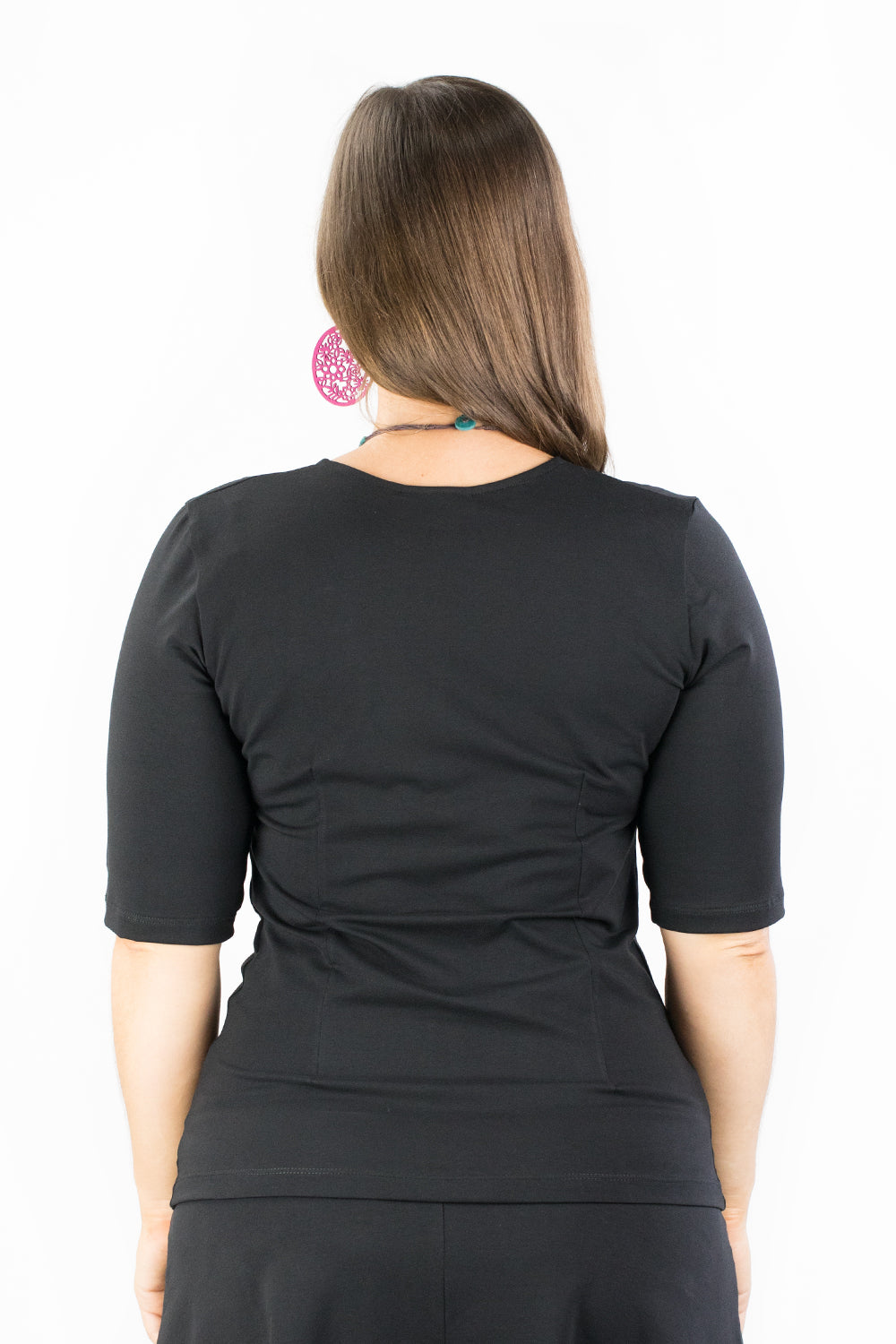 Windowpane Top - Elbow Sleeve - Geisha in Black