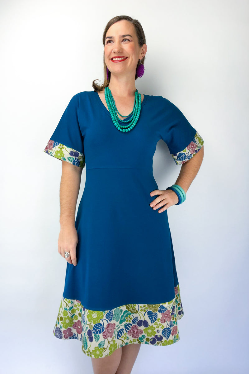 Wattle Dress - Retro Garden in Cerulean