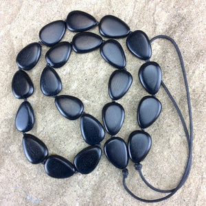 Flat Drops Necklace - Black