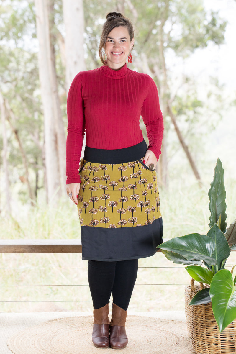 Goji Skirt - Trees in Mustard Cord (8,10)