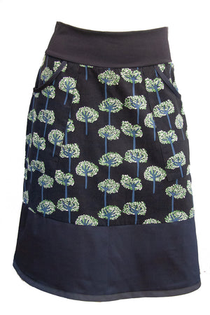 Goji Skirt - Trees in Black Cord