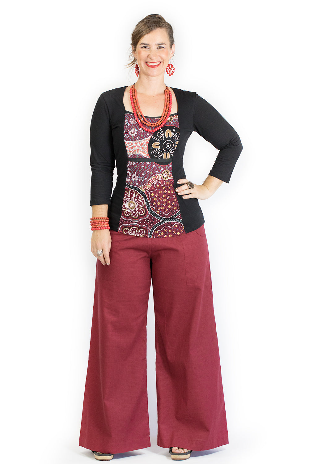 Sidewalk Pants - Burgundy Cotton Dobby