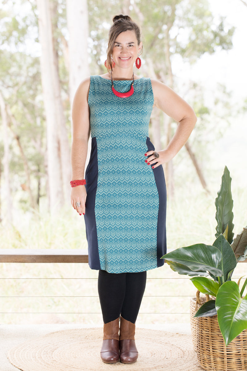 Snowdrop Dress - Merino - Diamonds in Teal (16,18)