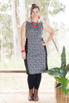 Snowdrop Dress - Merino - Squiggle in Black and Grey