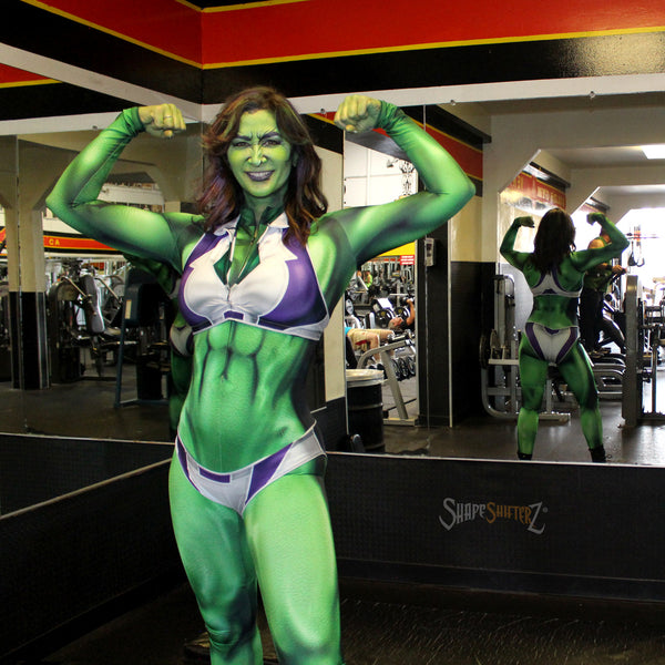 She Hulk sipping on Celsius at Gold's Gym ShapeShifterZ costume